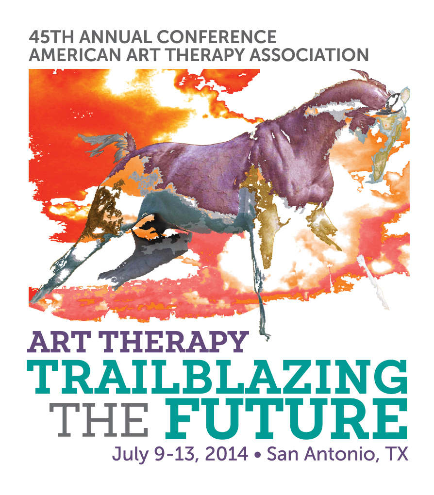 "Print Design for the 45th annual conference for the american art therapy association titled ""Trailblazing the Future""."