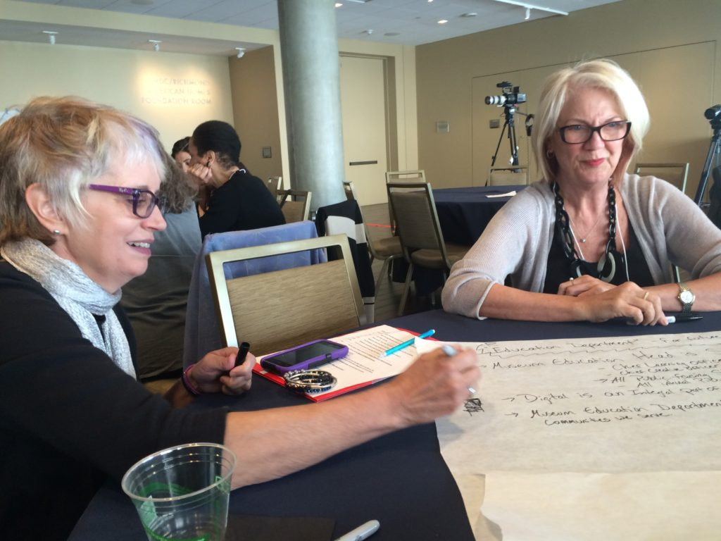 Professor Pat Villeneuve completes a strategic activity about the future of museum education with Deborah Reeve, Executive Director of the National Art Education Association (NAEA)