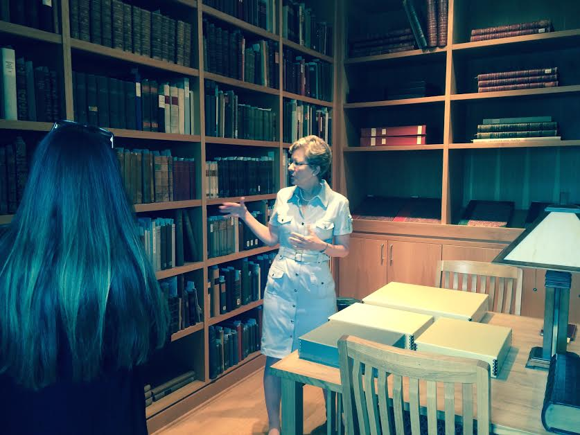 Elisa Hansen, Head of Library Services at The Ringling, gives our visitor studies class a tour of library resources including John Ringling's personal rare book collection.