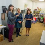 9 / 12 Second Lady Karen Pence (right) tours the FSU art therapy program with First Lady of Florida Ann Scott (middle) at the launch of her new initiative, Art Therapy: Healing with the HeART on Wednesday, Oct. 18, at Florida State University. (FSU Photography Services)