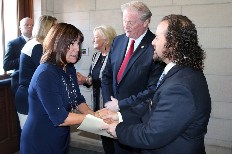 Second Lady Karen Pence greets President John Thrasher and Professor Dave Gussak at the launch of her new art therapy initiative, Art Therapy: Healing with the HeART on Wednesday, Oct. 18, at Florida State University. (Bayard Stern)