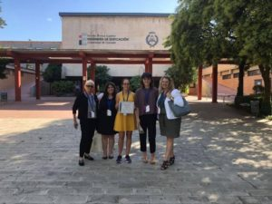 From left to right: Dr. Pat Villeneuve, Alexia Lobaina, Sarah Graves, Tyles Law, and Ann Rowson Love. Granada, Spain. International Conference on The Inclusive Museum. September 2018.